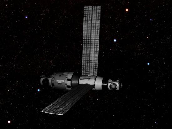 """Polski moduł orbitalny """"Mazovia"""". Zdjęcie wykonane przezporucznik Glorię Dobrowolską zpokładu promu Sojuz 85"""