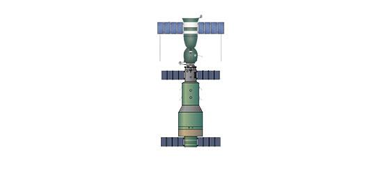 Ryc. b - Stacja Salut 1 zzadokowanym statkiem Sojuz 11 - rok 1971