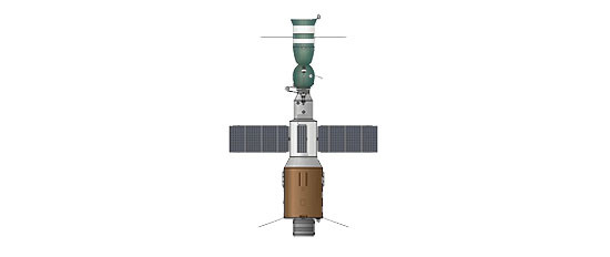 Ryc. d - Udoskonalony na bazie poprzednich doświadczeń model stacji kosmicznej - Salut 4 - rok 1974