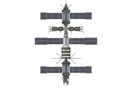 Ryc. g - Salut 8, ostatnia, najbardziej zaawansowana z serii baza z dwoma ciężkimi modułami Kosmos i węzłem cumowniczym - rok 1983