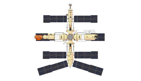 Ryc. h - Nowoczesny, wielomodułowy kompleks orbitalny trzeciej generacji - radziecki Mir