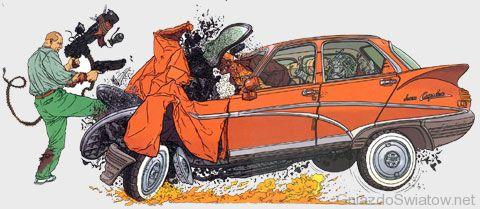 Nixon demoluje samochód
