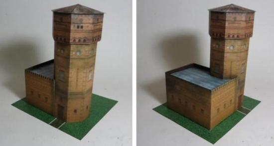 Wieża ciśnień, Konstancin - model papierowy