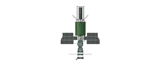 Ryc. c - Wojskowa baza orbitalna Ałmaz 2 ze statkiem Sojuz (faza I) - 1974