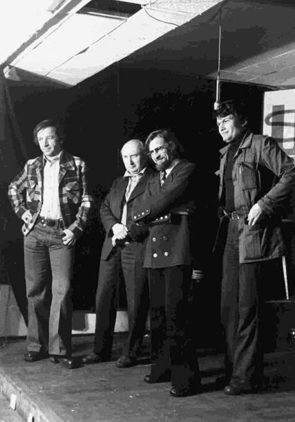 Od lewej: Adam Snerg-Wiśniewski, Krzysztof Boruń, Janusz A. Zajdel, Maciej Parowski